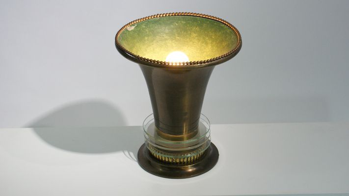 Bronze Jour Abat De Bureau Déco Lampe En Art VerreFrance1920s Avec Détails nO80wkP