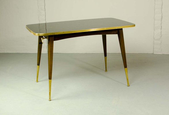Mid Century Game Table With Brass With Black And Gold Painted Glass, 1950s
