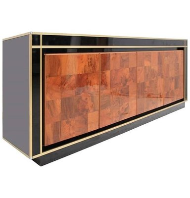 Wooden Sideboard In Metal And Crystal Glass 1970s For Sale At Pamono