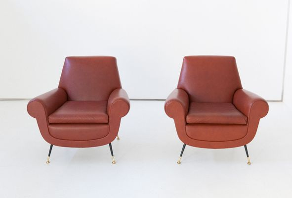 Italian Faux Leather Armchairs By Gigi Radice For Minotti, 1950s, Set Of 2 1