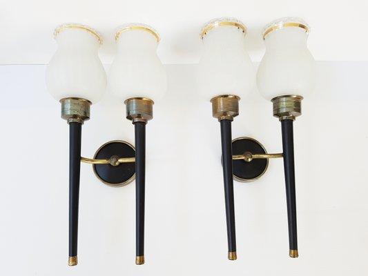 Applique in metallo ottone e vetro francia anni 50 set di 2 in