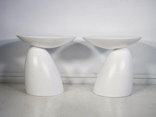 Tavolini rotondi in fibra di vetro bianca, anni \'80, set di 2 in ...