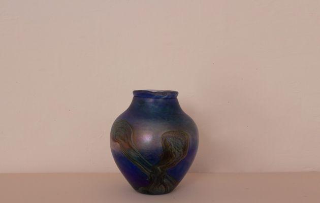 Vintage Blue Iridescent Blown Glass Vase From Jean Claude Novaro