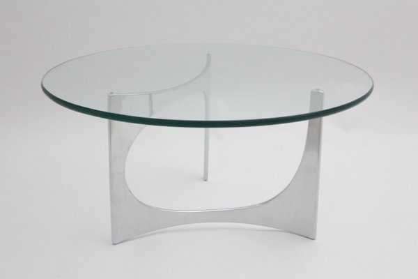 Vintage German Round Gl Coffee Table By Knut Hesterberg 1970s