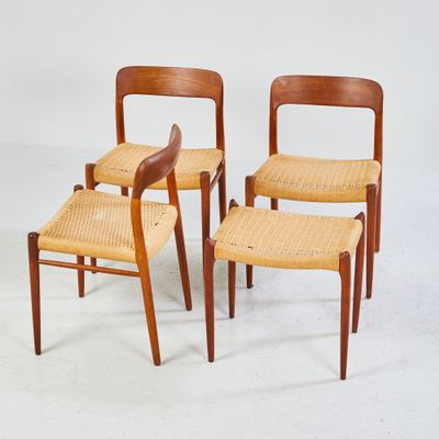 Merveilleux Model 75 Chairs And Model 80A Ottoman By Niels O. Moller For J.L. Møller,