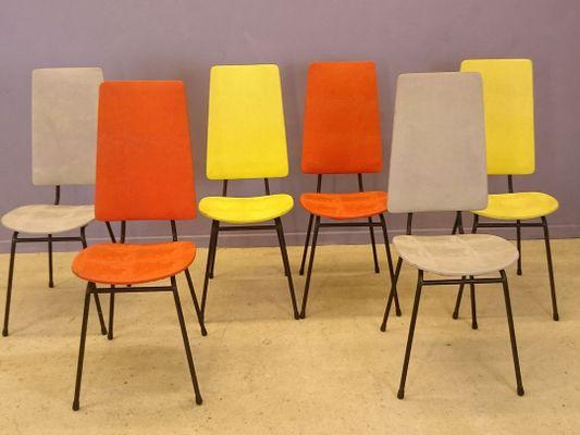Stühle mit Hoher Rückenlehne von Jacques Hitier, 1950er, 6er Set bei ...