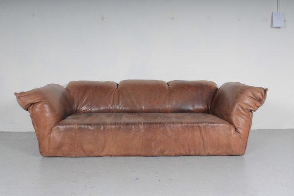 Sofa Vintage Leder | Braunes Vintage Leder Sofa Von Gerard Van Den Berg Fur Montis
