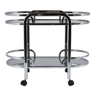 Mid-Century Modern Chrome & Glass Bar Cart