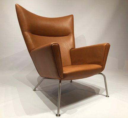 mid century model ch445 wing chair by hans j wegner for carl hansen