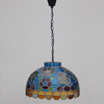 Handcrafted Stained Glass Pendant Lamp 1970s