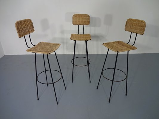 Rattan Bar Stools, 1960s, Set Of 3 2
