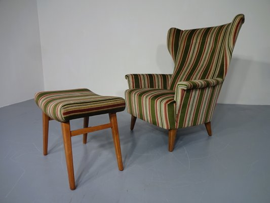 Wingback Chair U0026 Ottoman, 1950s 1