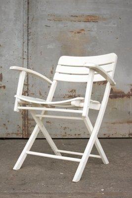 Klappbare Vintage Gartenstühle Aus Weiß Lackiertem Holz Von Herlag, 2er Set  1