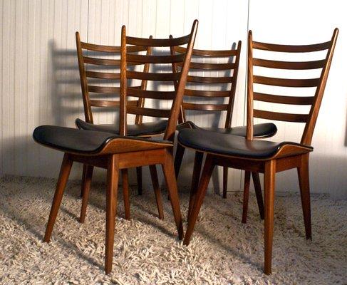 Niederländische Vintage Esszimmer Stühle Aus Schichtholz Teak 4er Set