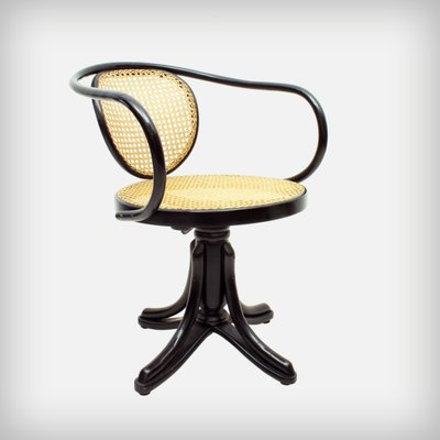 Antique Polish Bentwood U0026 Handwoven Rattan 5501 Swivel Chair From Thonet,  ...