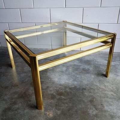 Gold Plated Square Coffee Table 1980s