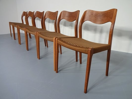 Model 71 Oak Dining Chairs By Niels O. Møller For J.L. Møllers, 1950s,