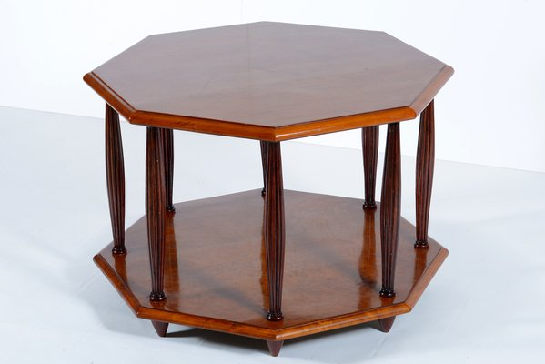 Art Deco Italian Octagonal Bird Eyes Maple Sofa Coffee Table Or Side