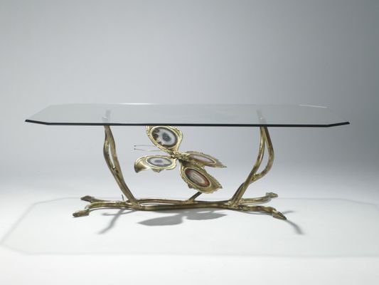 Vintage Bronze U0026 Glass Coffee Table By Henri Fernandez, ...