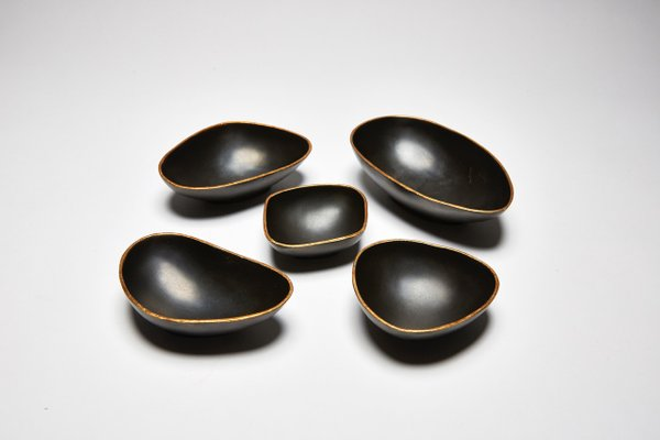 Pebbles Decorative Cups in Bronze and Gold by Reda Amalou, Set of 5