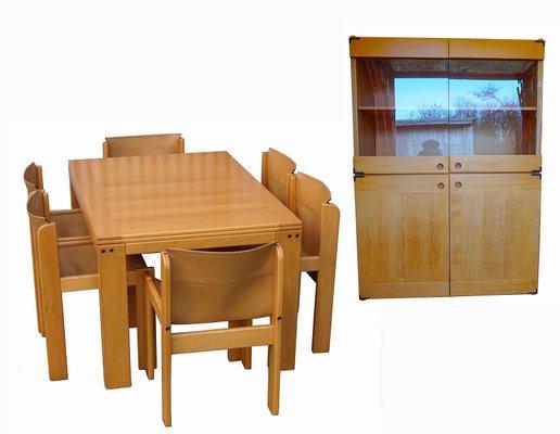 Ibisco Esszimmer Set Mit 6 Lederstühlen Und Ausziehbarem Tisch, 1970er 24