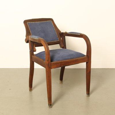 Antique Oak & Suede Barber's Chair 2 - Antique Oak & Suede Barber's Chair For Sale At Pamono