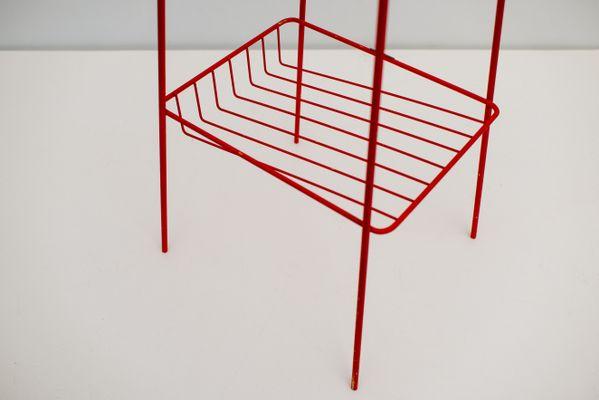 Sidetable 3 Meter.Mid Century Italian Side Table In Red Steel 1973