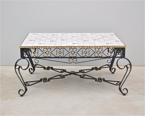 Wrought Metal Ceramic Tile Coffee Table