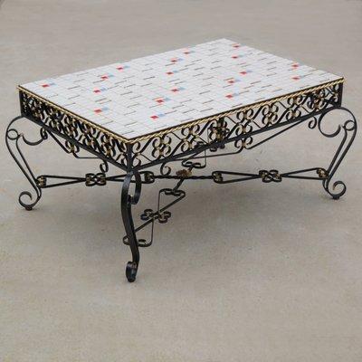 Wrought Metal U0026 Ceramic Tile Coffee Table, ...