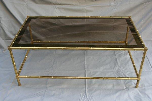 Französischer Mid Century Couchtisch Aus Glas Messing In Bambus