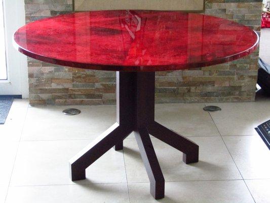 Table De Salle A Manger Plateau En Cuir De Chevre Rouge Par Aldo Tura 1958