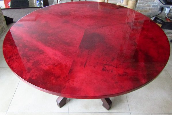 Red Goatskin Dining Table By Aldo Tura, 1958 6