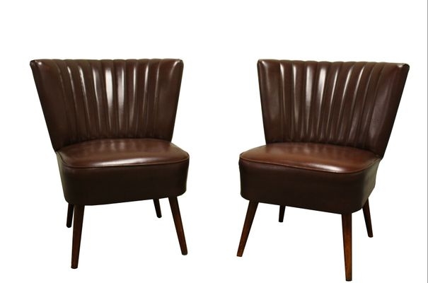 Incroyable Faux Leather Brown Cocktail Chairs, 1960s, Set Of 2 1