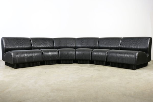 Mid Century Black Snakeskin Modular Sofa By Don Chadwick For Herman Miller 1970s