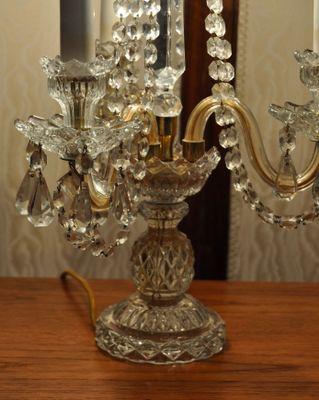 Vintage Crystal Candelabra Table Lamps, Set Of 2 2