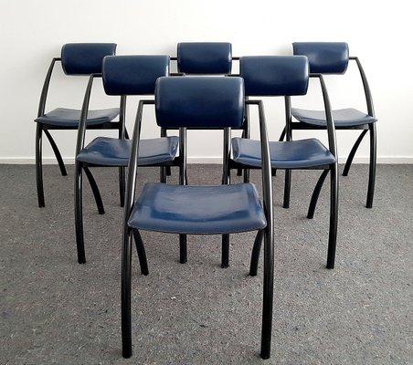 Sedie da pranzo moderne in pelle di Fasem, Italia, 1995, set di 6 in ...