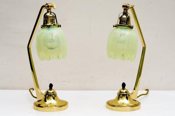 Antique Art Nouveau Table Lamps With Opaline Glass Shades 1909 Set