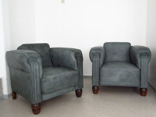 Art Deco Leather Club Chairs 1920s Set Of 2