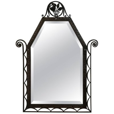 Art Deco Wrought Iron Wall Mirror 1930s 1