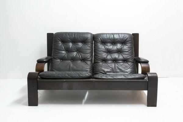Vintage 2 Sitzer Sofa Aus Leder Holz Bei Pamono Kaufen