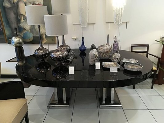 Large Black Lacquered Dining Room Table 1930s 6