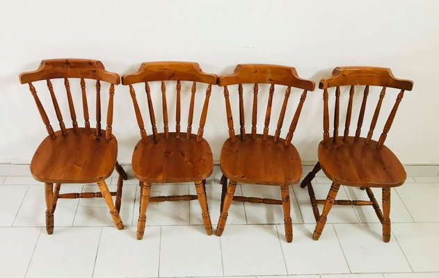 Rustic Kitchen Chairs, 1930s, Set of 4
