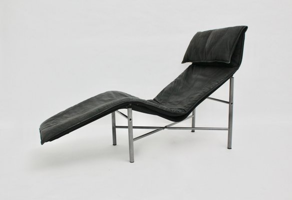chaise longue en cuir noir par tord bjorklund 1970s 1 - Chaise Longue Cuir