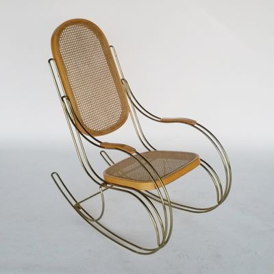 Metal U0026 Cane Rocking Chair, 1970s 2