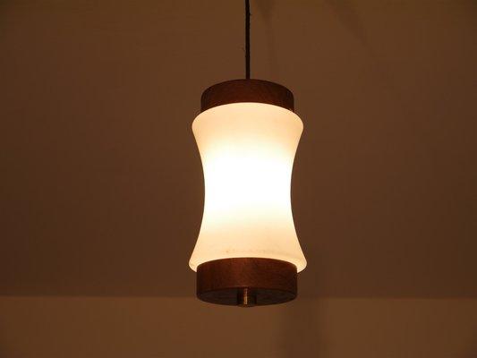 Lampade A Sospensione Vintage : Lampada a sospensione piccola vintage in teak e vetro opalino