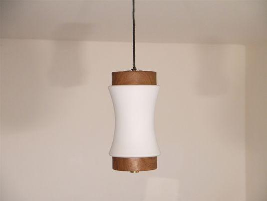 Lampade In Vetro A Sospensione : Lampada a sospensione piccola vintage in teak e vetro opalino
