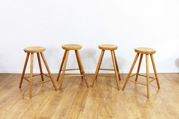 Miraculous Vintage Solid Wooden Stools Set Of 4 Squirreltailoven Fun Painted Chair Ideas Images Squirreltailovenorg