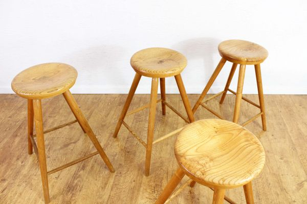 Sensational Vintage Solid Wooden Stools Set Of 4 Squirreltailoven Fun Painted Chair Ideas Images Squirreltailovenorg