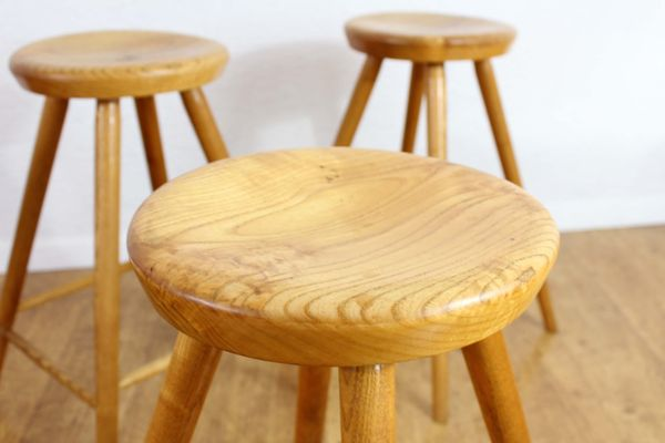 Excellent Vintage Solid Wooden Stools Set Of 4 Squirreltailoven Fun Painted Chair Ideas Images Squirreltailovenorg