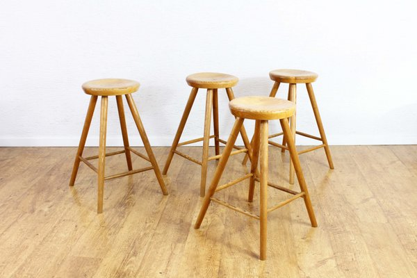 Brilliant Vintage Solid Wooden Stools Set Of 4 Squirreltailoven Fun Painted Chair Ideas Images Squirreltailovenorg